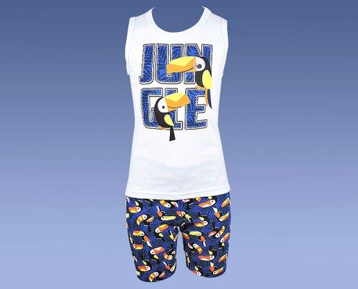 Conjunto Masculino Infantil 4-8 Regata e Bermuda EstampaJungle 110057 Kyly Blusa e Azul