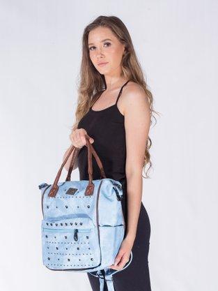 Mochila E Bolsa Transversal Feminina Adulto Sintético Com Tachas KL626 KL Main Azul Celeste